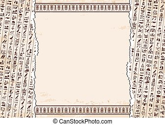 Egyptian ornaments and hieroglyphs. - Vector illustration of...