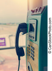Payphone or public telephone coin and card in Thailand.