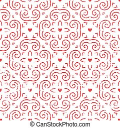 Seamless pattern with hearts in red.