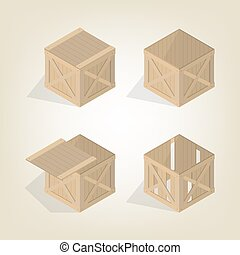 Realistic wooden box isometric, vector illustration.