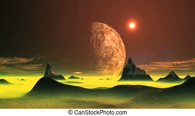 Sunset on an alien planet - On a dark starry sky rotates...