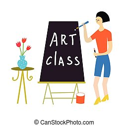 Art class illustration with a teacher and tools