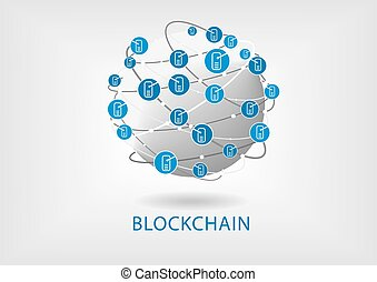 Blockchain vector illustration with connected globe on light...