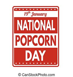 National popcorn day sign or stamp - National popcorn day...