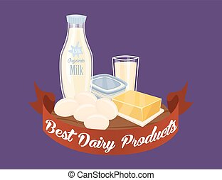 Farm products banner with dairy composition on perpl...