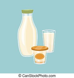 Dairy products isolated on blue background - Assortment of...