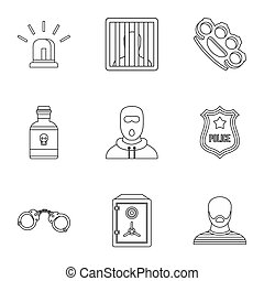 Lawlessness icons set, outline style - Lawlessness icons...