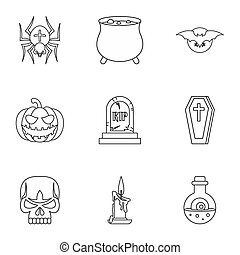 Halloween holiday icons set, outline style - Halloween...