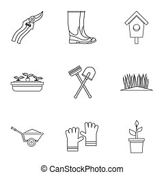 Farm icons set, outline style - Farm icons set. Outline...