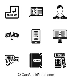 Foreign language icons set, simple style - Foreign language...