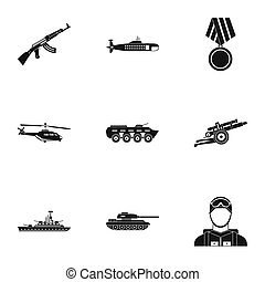 Military defense icons set, simple style