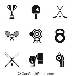 Sports equipment icons set, simple style