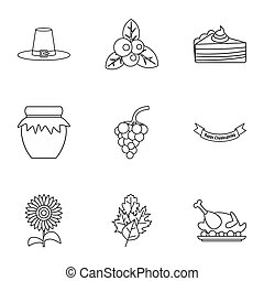 Thanksgiving day icons set, outline style - Thanksgiving day...