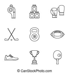 Sports equipment icons set, outline style