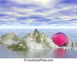 Abstract - Sphere on rocks (CGI)