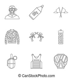 Competition paintball icons set, outline style - Competition...