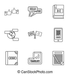 Foreign language icons set, outline style - Foreign language...