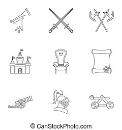 Military middle ages icons set, outline style - Military...