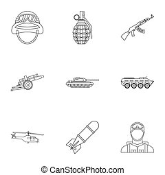 War icons set, outline style - War icons set. Outline...