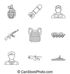 armas, jogo, estilo, Esboço, ícones