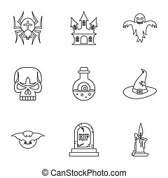 Terrible holiday icons set, outline style - Terrible holiday...