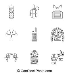 Shooting paintball icons set, outline style - Shooting...