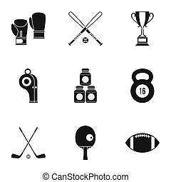 Sports stuff icons set, simple style