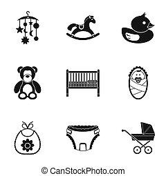 Nowo narodzony, komplet, styl, prosty, ikony
