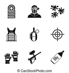 Paintball club icons set, simple style - Paintball club...