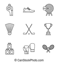 Sports stuff icons set, outline style