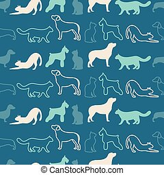 Animal seamless vector pattern of cat and dog silhouettes -...
