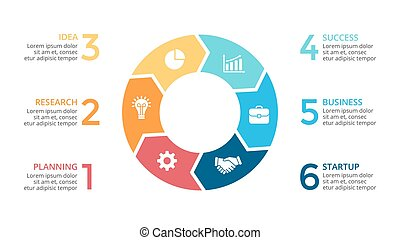 Vector circle arrows infographic, cycle diagram, graph, presentation chart. Business concept with 6 options, parts, steps, processes. 16x9 slide.