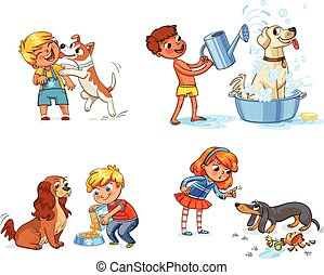 Dog training. Funny cartoon character - Happy boy with a dog...