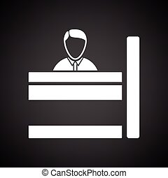 Bank clerk icon. Black background with white. Vector...
