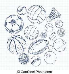 Freehand drawing sport balls on a sheet of exercise book -...