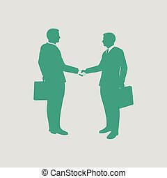Meeting businessmen icon. Gray background with green. Vector...