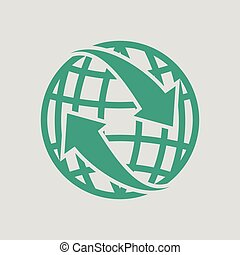 Globe with arrows icon