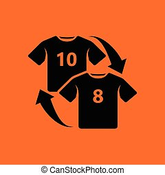 Soccer replace icon. Orange background with black. Vector...