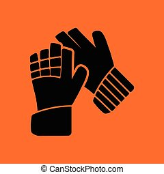 Soccer goalkeeper gloves icon. Orange background with black....