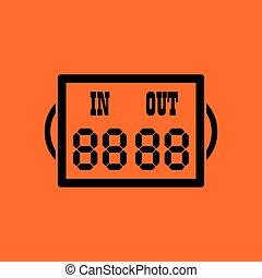 Soccer referee replace scoreboard icon. Orange background...