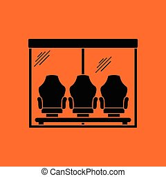 Soccer player's bench icon. Orange background with black....