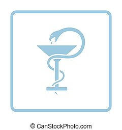Medicine sign with snake and glass icon. Blue frame design....