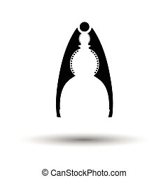 Nutcracker pliers icon. White background with shadow design....