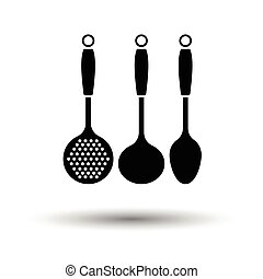 Ladle set icon. White background with shadow design. Vector...
