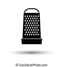 Kitchen grater icon. White background with shadow design....
