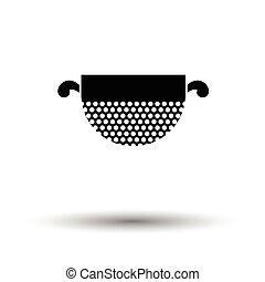 Kitchen colander icon. White background with shadow design....