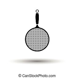 Kitchen colander icon. White background with shadow design....