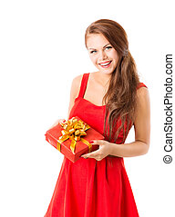 Woman Present Gift Box, Girl In Red Dress, White Isolated