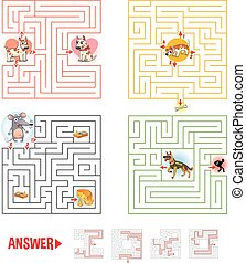 Help the character to find a way out of the maze. Set...