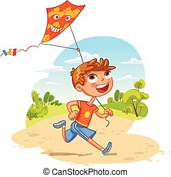 Boy plays with a kite in the park. Funny cartoon character....